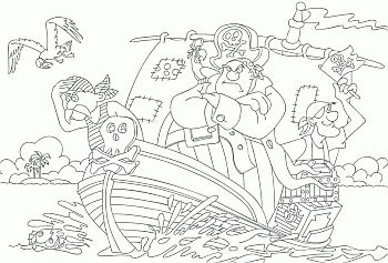 Kleurplaat piraten / Piraci