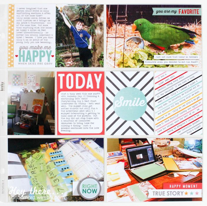 Week 12 - right hand side... Credits: 'Oh Happy Day!' collection by Mari Koegelenberg Creations and 'Hello Sunshine' elements, papers and journal cards by Pink Paislee. Font: Travelling Typewriter