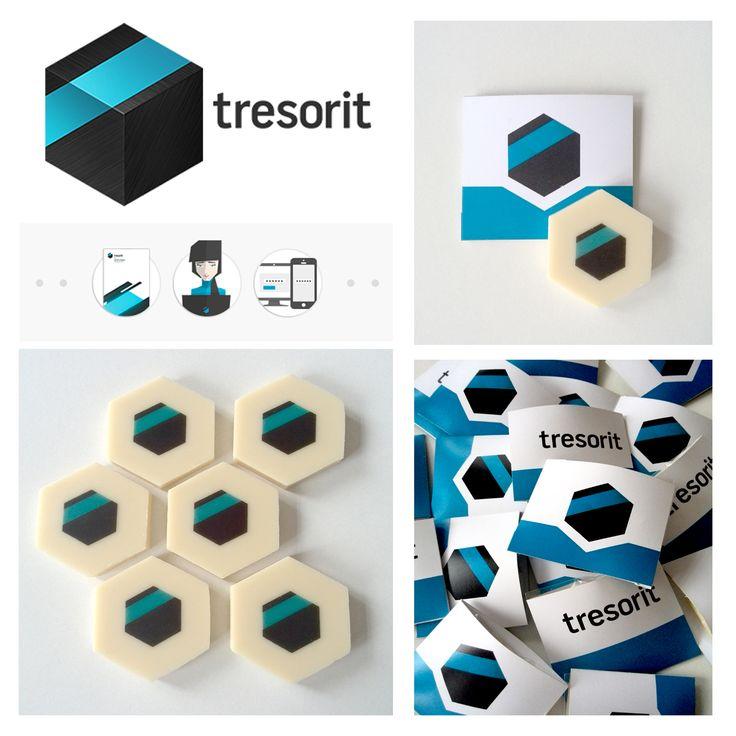 Corporate gift - Tresorit - custom printed white chocolate