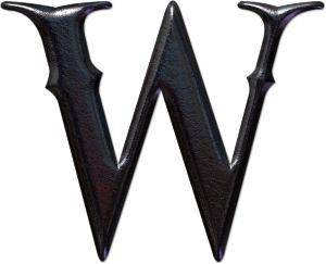 Abecedario gótico. Letra W mayúscula.