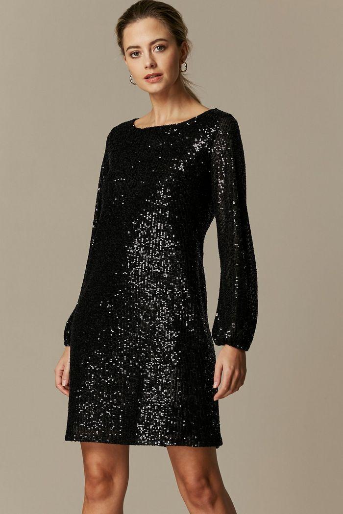 Petite Black Sequin Long Sleeve Dress Long Sleeve Dress Long Sleeve Sequin Dress Dresses