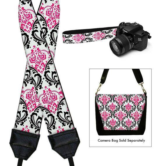 Camera Neck Strap Dslr Camera Strap Slr Padded Camera Strap Nikon Canon - Madison Damask Pink Black White (MTO)
