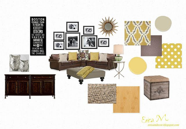 Yes to colors with orange and others splashed in.     Gray Yellow & Brown Design Board - yellow walls, brown couch...