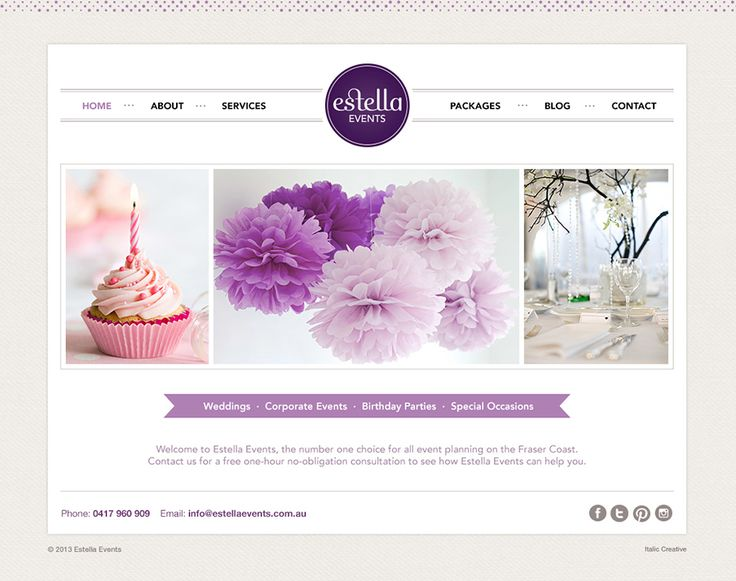 Estella Events website by ITALIC