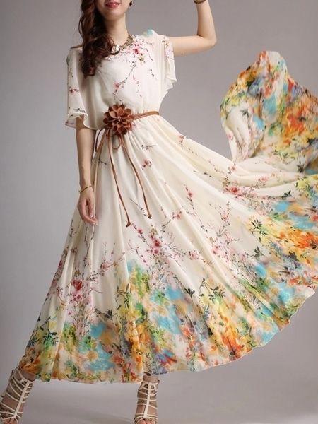 Crew Neck Chiffon Bohemian Floral Printed Maxi-dress Maxi Dresses from fashionmia.com
