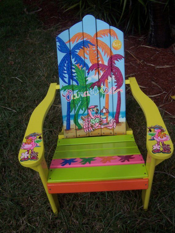 Tropical Adirondack Chair Handcrafted Hand Painted Flamingo Beach Paradise Palms