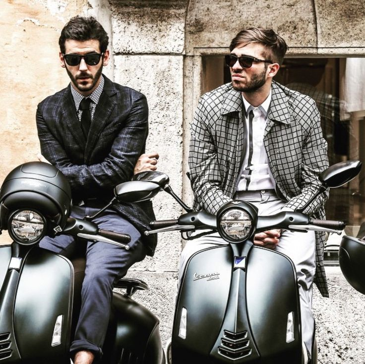 """THE VESPA MOTOR SCOOTER, IT'S TOO MANLY FOR YOU, NOT THE OTHER WAY AROUND When you hear the phrase """"Vespa motor scooter"""" what image comes to your mind? Do you see a rugged guy in a flannel shirt and a three day stubble tearing down the road on his scooter, a beautiful woman sitting behind him,   #boys #men riding vespa's #vespa"""