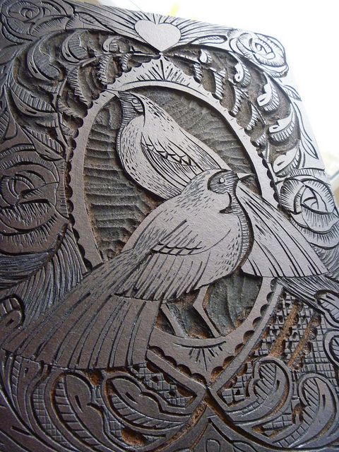 The lino itself is as beautiful as the print it creates. Lino Plate by Mangle Prints, via Flickr