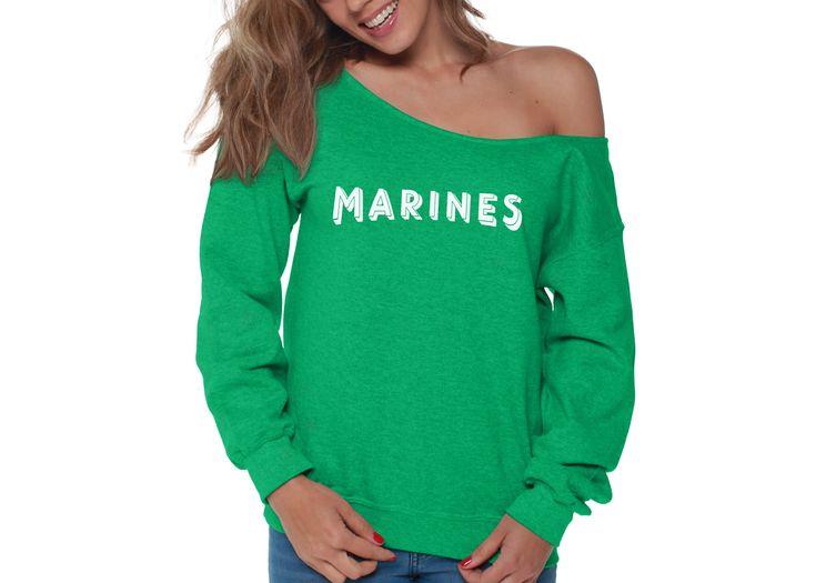 Marines Womens Off the Shoulder Sweatshirt Slouchy Top Military Proud TShirt, SweatShirt for Women - S Red 3