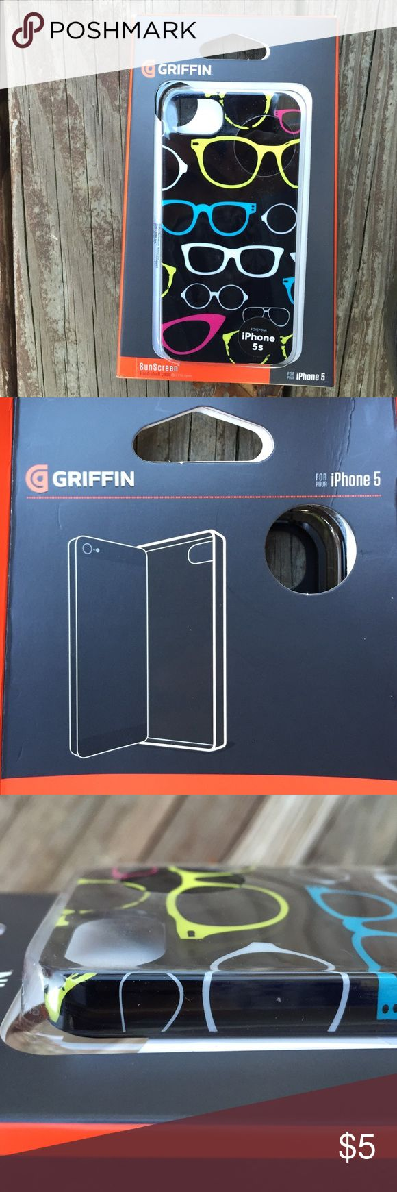iPhone 5, 5S, SE case Snap on, hard/shell case with cute glasses design.  In original packaging.  Add to any full price single item purchase for free! Griffin Accessories Phone Cases