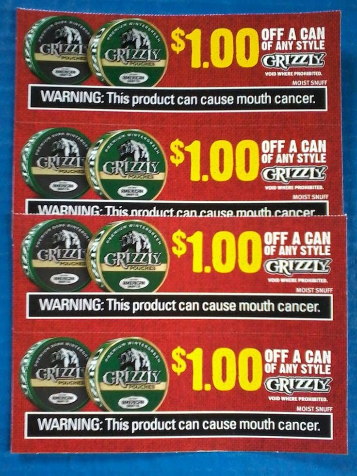 Grizzly Tobacco Coupons Pouch Snuff