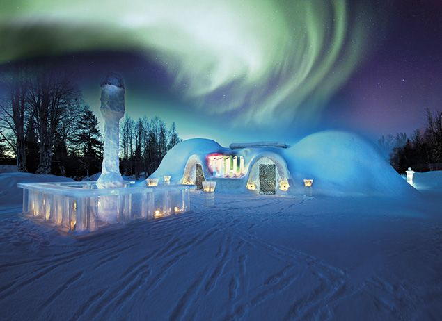 The Northern Lights above an igloo restaurant in Rovaniemi