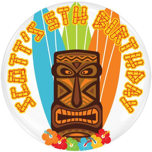 Aloha Tiki Personalised Birthday Party Badge #919