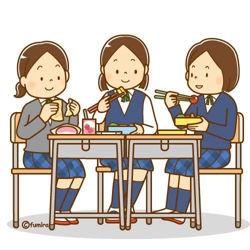 ともだちと一緒にお弁当を食べる女子学生のイラスト ソフト