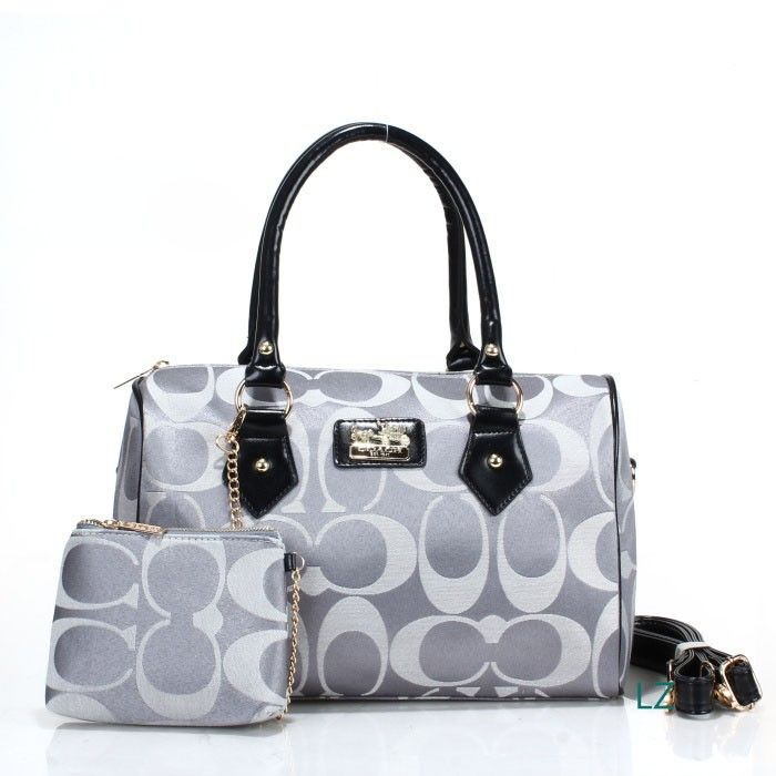 Coach Logo Monogram LZ704 Two-Piece Satchel In Grey