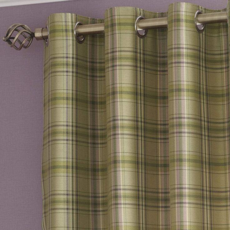 iLiv Piazza Cerato Tartan Check Eyelet Curtains - Fern