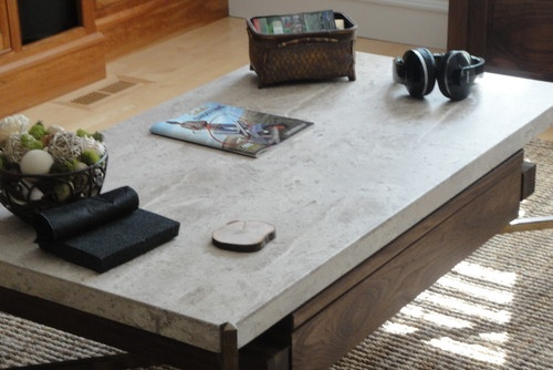 Travertine Coffee Table with Under-mount Storage & Built in Pop Up Table (Walnut - eclectic - coffee tables - vluber45