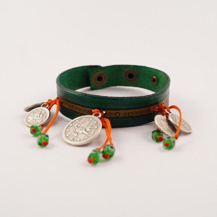 Leather Charm Bracelet, Coin Charm Bracelet, Leather Charm Bracele, Turkish Devil Eye Charms Cuff, gift for her, pine green bracelet by AnatolianBliss on Etsy