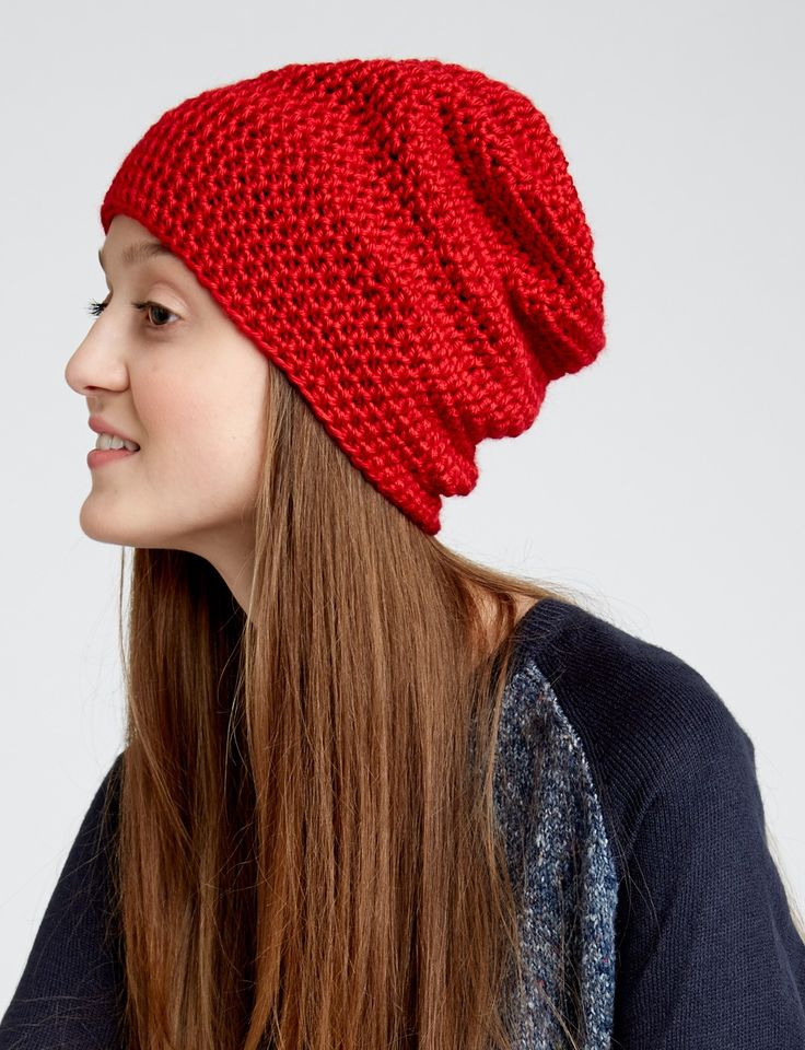 Yarnspirations.com - Caron Slouchy Beanie, free, thanks so xox ☆ ★   https://www.pinterest.com/peacefuldoves/