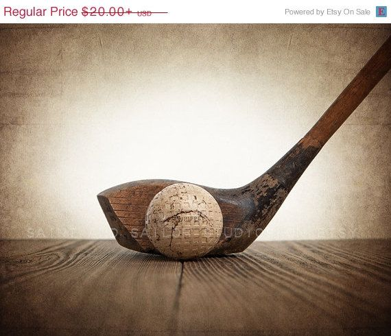 FATHERS DAY SALE 1920s Vintage Golf Wood and Ball by shawnstpeter