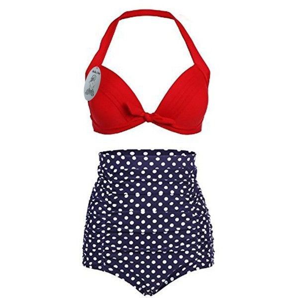 Women's High Waist Swimsuit Polka Dots Sexy Halter Bikini Set (1,135 INR) ❤ liked on Polyvore featuring swimwear, bikinis, sexy swimsuits, halter bikini top, high waisted swimsuit, polka dot high waisted bikini and sexy swim suits