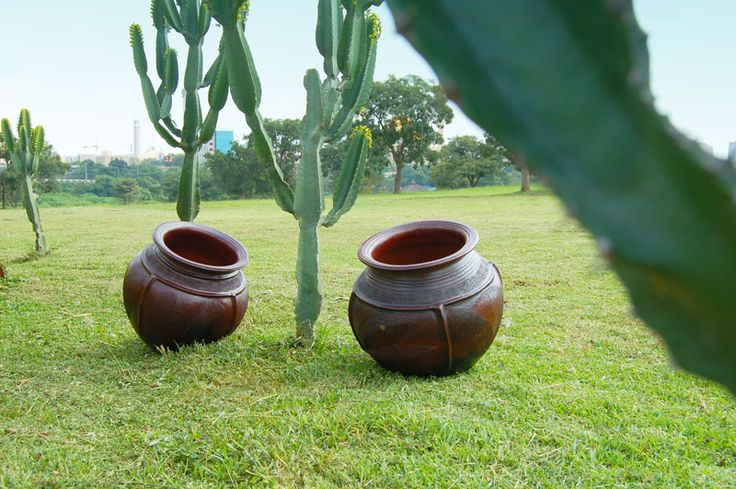 African pottery in the garden