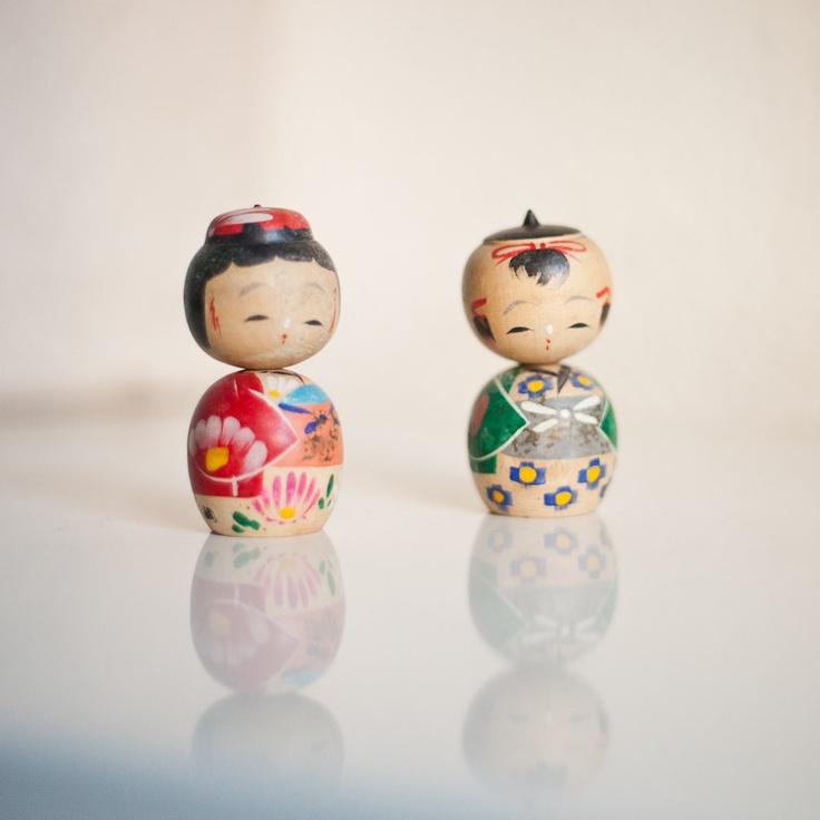 Vintage kokeshi couple