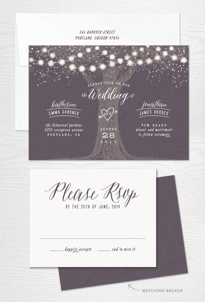 Garden Lights Rustic Wedding Invitation- LOVE IT Perfect for our beautiful new festoons. Mx