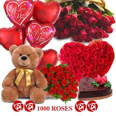 A perfect gift for the perfect ambassador of your strongest emotions. The Hamper includes 4 feet tall arrangement of 100 roses, one heart shaped arrangement of 150 Red Roses, 25 different arrangements. http://www.fnp.com/flowers/crazy-in-love/--clI_2-cI_1124-pI_24875-i_24489.html