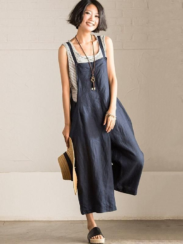 Loose Vintage Navy Blue Wide Leg Jumpsuits – moongor