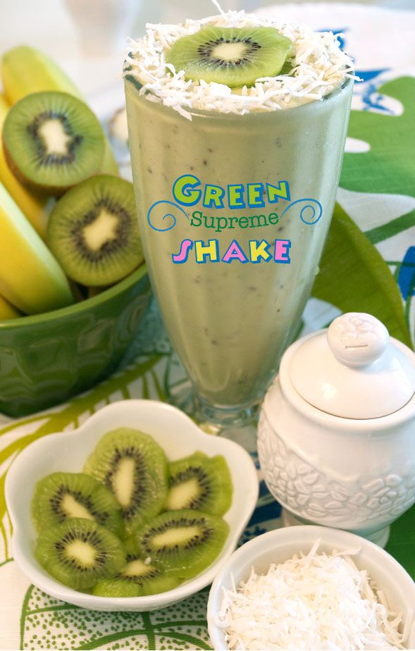 Kiwi, Avocado, Green Tea & Coconut...It was a hit with my boys. I did not add any sweetener so it was mildly sweet. Pretty good!