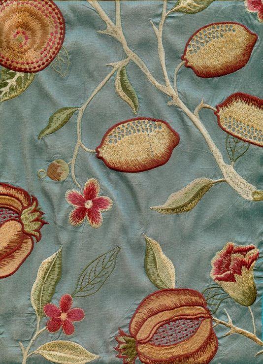 Fruit Venezia Silk Curtain Fabric Stunning embroidered aqua silk adapted from a classic William Morris design