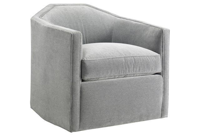 Swivel Barrel Chair, Velvet Gray