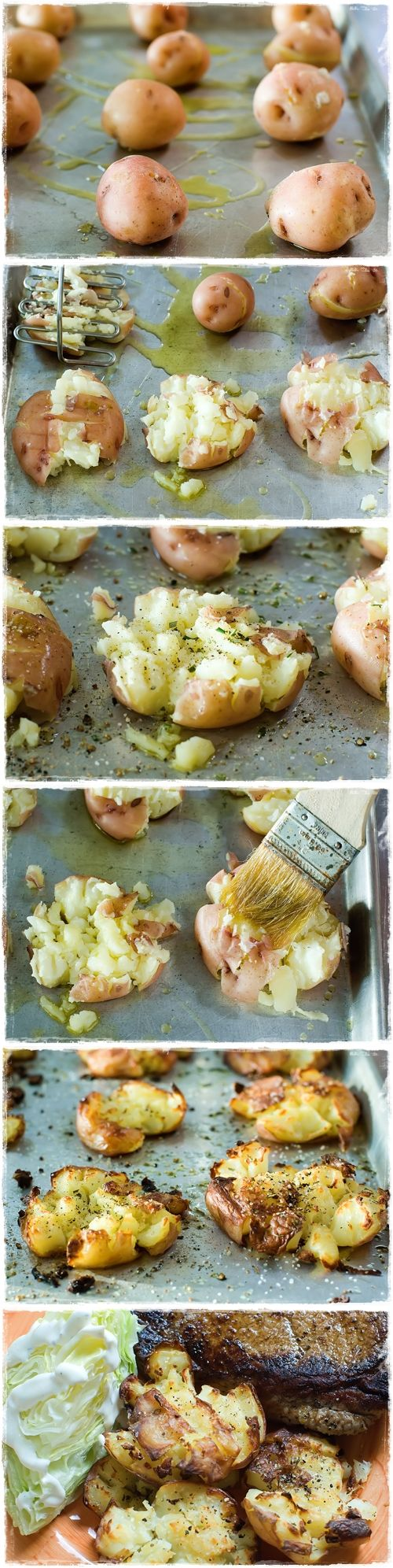 Crushed Hot Potatoes. My friend from Hungary makes these, and they are SO good, bake or boil potatoes before crushing them.