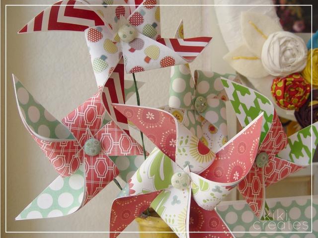 pinwheels: Spring Pinwheels, Spin Spiral Pinwheels, Kiki Creates, Holiday Crafts, Flowers Vase, Decorative Pinwheels
