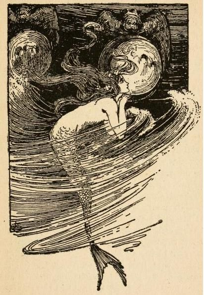 Little Mermaid: Fairy tales of Hans Andersen (1908) illustrated by Helen Stratton 'As often as the water lifter her up she peeped in through the transparent panes.'