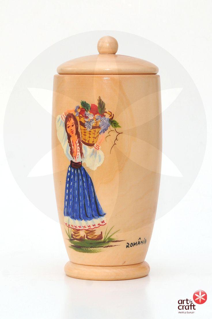 Vas cu capac din lemn, pictat si inscriptionat Romania