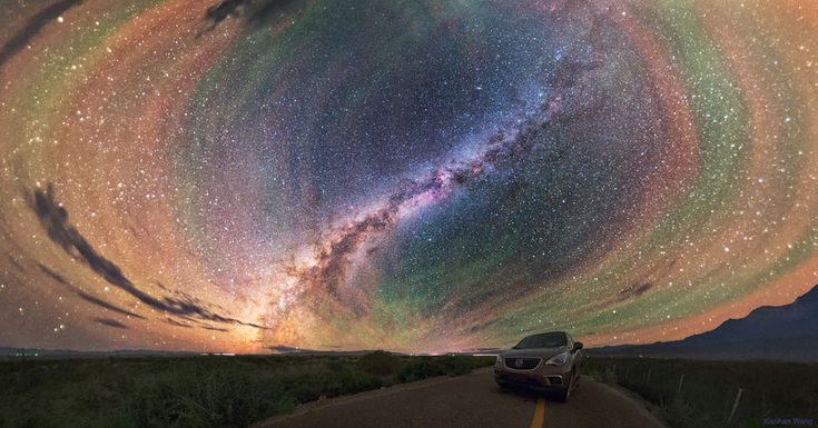 Colorful Airglow Bands Surround Milky Way