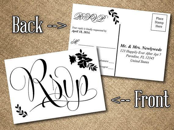 diy wedding rsvp postcard word template vintage romance black white