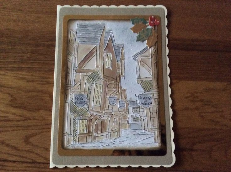 Sheena Douglas Figgy Pudding Embossing Folder hand painted using distress inks