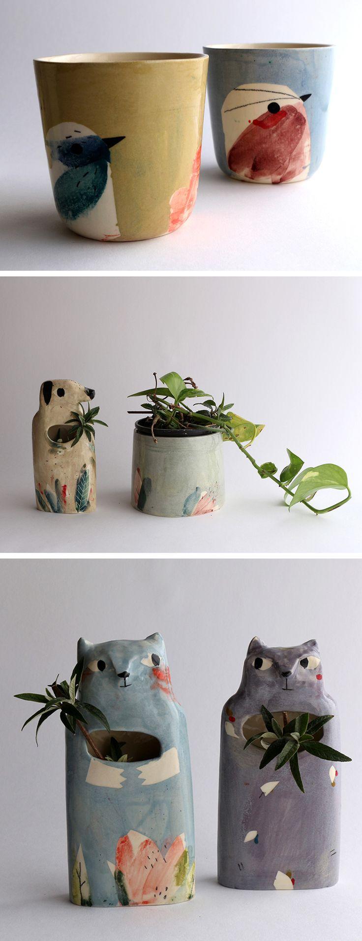 Painted ceramics by Elise Lefebvre | illustrated ceramics | modern ceramics | animal planters