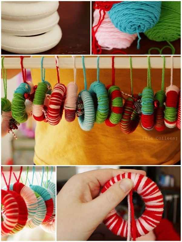 Yarn Wreath Ornaments | 36 Adorable DIY Ornaments You Can Make With The Kids