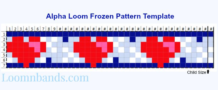 Free Alpha Loom Frozen Pattern Template made by Annie at loomnbands.com