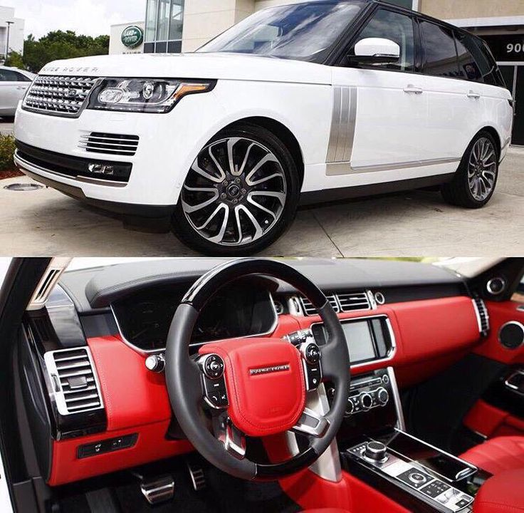 White Range Rover with red interior