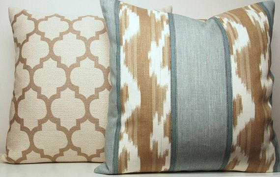 Light Aqua Blue Decorative Pillow Cover, Light Brown, Tan, Cream, 18x18, Abstract, Throw Pillow ...