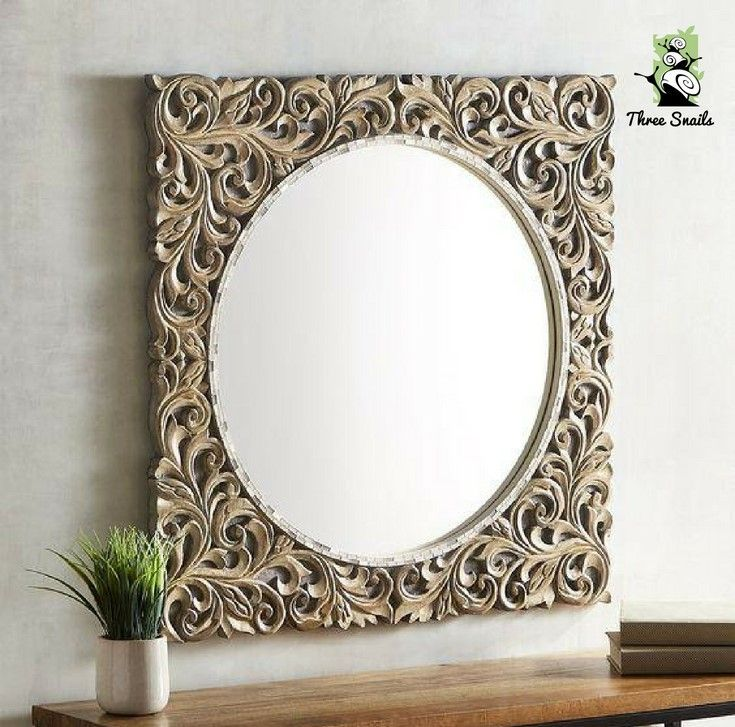 Pin On Talla 2019, Natural Carved Wood Round Mirror