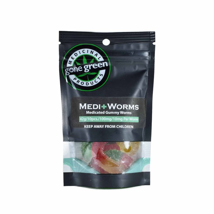 Have you Gone Green? Gone Green 100mg Medicated Gummies are available in sour Gummy Worms and sour Bottles in Cola and Blue Raspberry.  100mg THC per package; 10 gummies – 10mg THC per gummy  First time users: divide one gummy in half and wait 60 minutes for effects to start