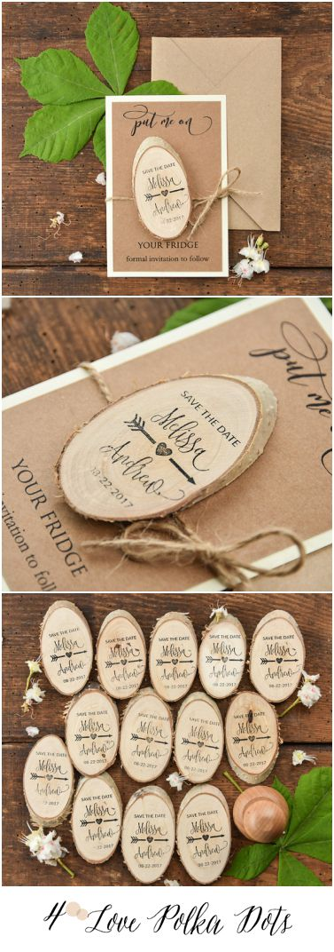 Wedding Save the Date card with wooden magnet 4lovepolkadots #sponsored