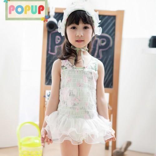 derniers coréen filles dentelle verte princesse d'impression florale jupe maillots de bain enfants spa maillots de bain