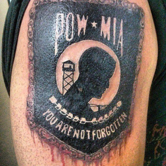"POW MIA tattoo by Steven ""Phoenix"" Kish at Skyline Tattoo Studio in Little Falls, MN https://www.facebook.com/steven.kish1"